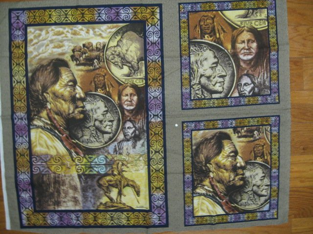 Image 0 of Buffalo Nickel Indian horse Pillow Panels + wall Panel throw fabric to sew