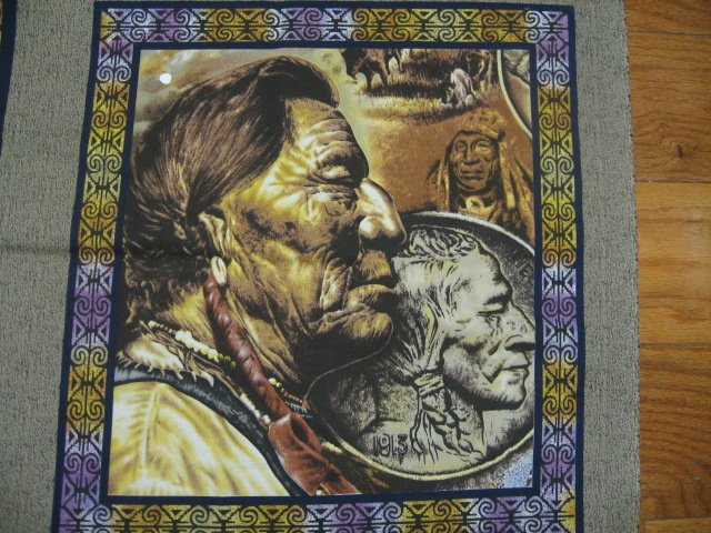 Image 1 of Buffalo Nickel Indian horse Pillow Panels + wall Panel throw fabric to sew
