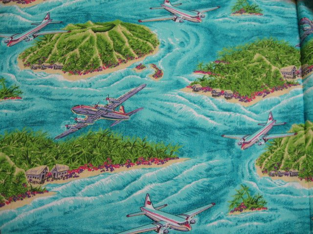Tropical Islands volcanoes airplanes beautiful sewing cotton Fabric By The Yard