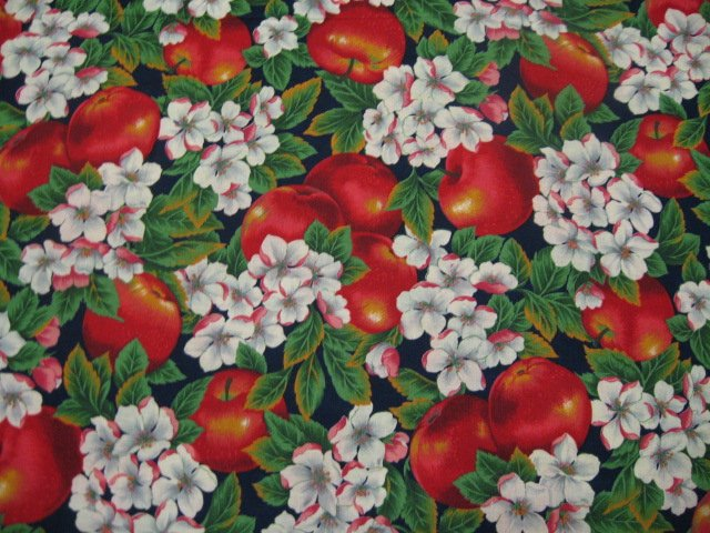 Apples Blossom Flowers Cider Hill Country Cotton Quilt Sewing Fabric last yard