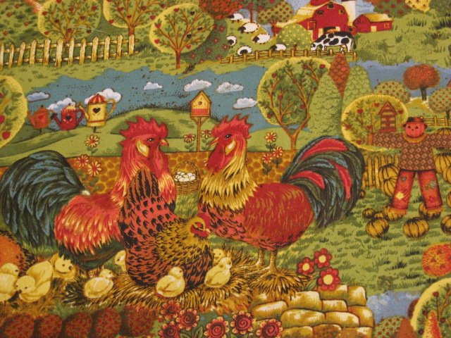 Image 0 of Country farm chickens roosters trees cotton Fabric By The artist Ro Gregg