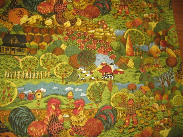 Image 1 of Country farm chickens roosters trees cotton Fabric By The artist Ro Gregg