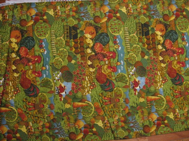 Image 3 of Country farm chickens roosters trees cotton Fabric By The artist Ro Gregg