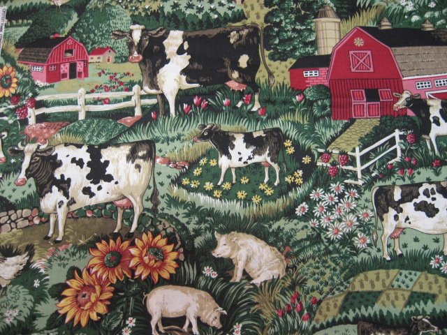 Country Barn Farms Chickens Roosters pigs sunflowers pumpkins fabric by the yard