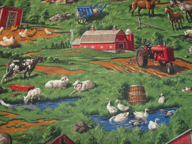 Country Barns tractors Chickens horses cows pigs realistic fabric by the yard