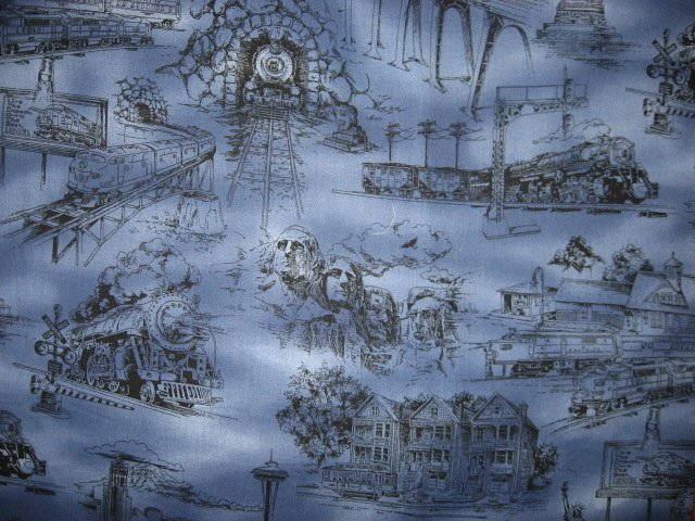 Statue of Liberty Rushmore Space Needle Country blue Toile Fabric by the yard