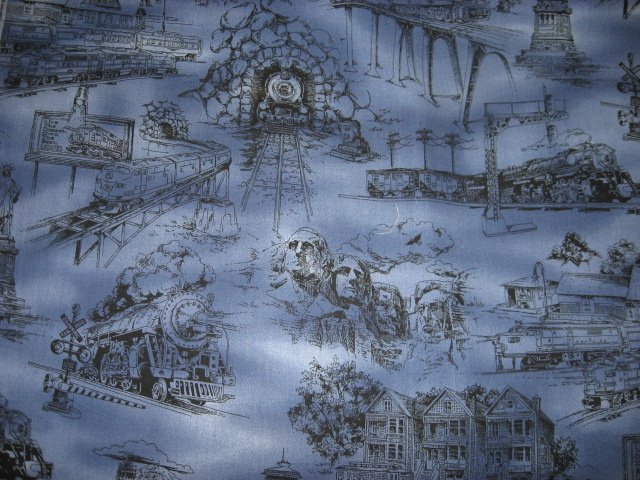 Image 1 of Statue of Liberty Rushmore Space Needle Country blue Toile Fabric by the yard