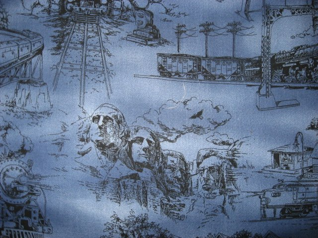 Image 2 of Statue of Liberty Rushmore Space Needle Country blue Toile Fabric by the yard