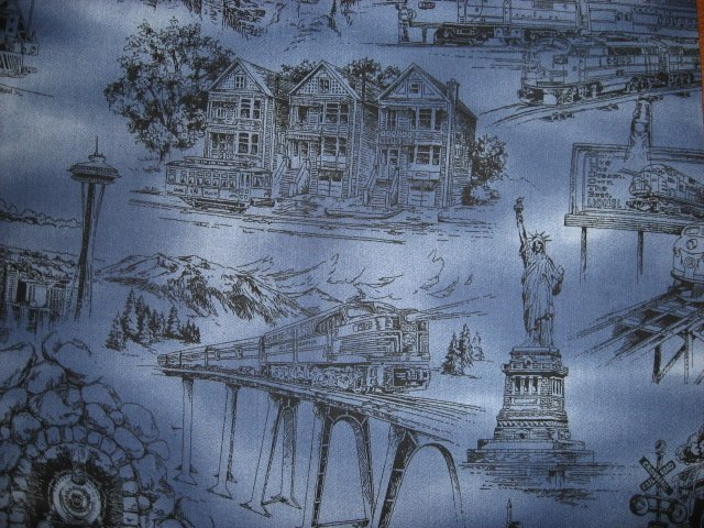 Image 3 of Statue of Liberty Rushmore Space Needle Country blue Toile Fabric by the yard