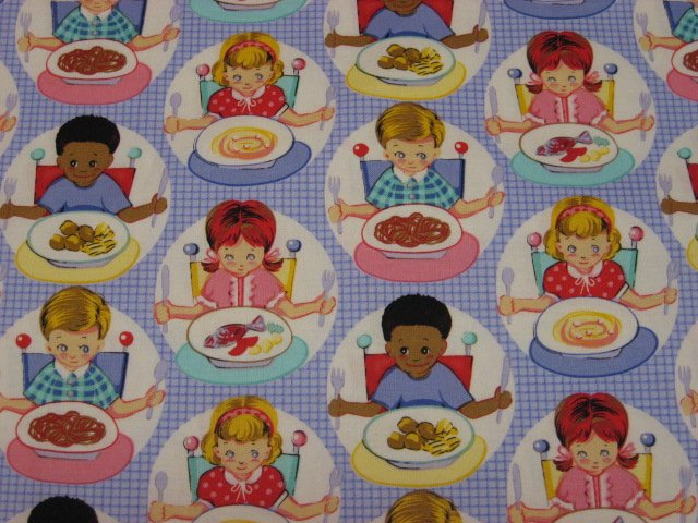 Michael Miller Children eat at Table High Chair Lilac Cotton fabric by the yard