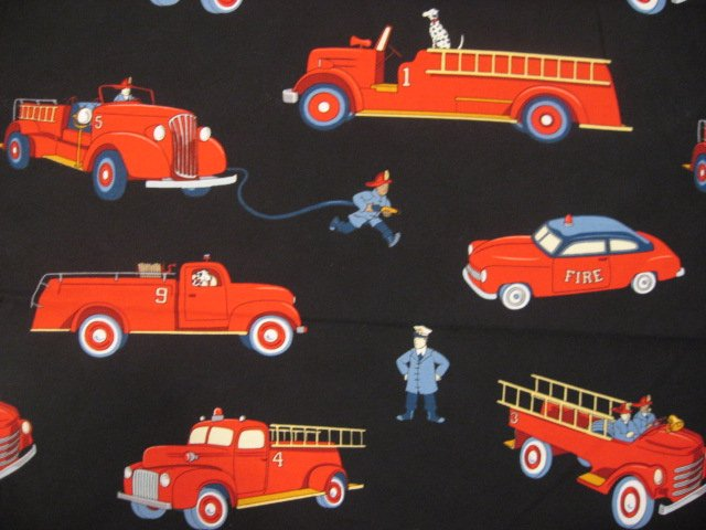 Image 0 of Michael Miller Vintage Fire truck Engine Dalmatian Applique fabric Fat Quarter