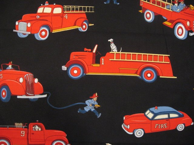 Image 1 of Michael Miller Vintage Fire truck Engine Dalmatian Applique fabric Fat Quarter