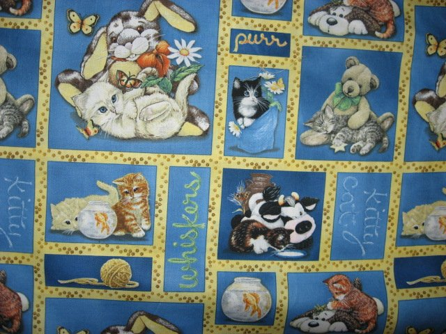 wilmington kitty cats with stuffed animals cow bunny fabric by the yard. Black Bedroom Furniture Sets. Home Design Ideas