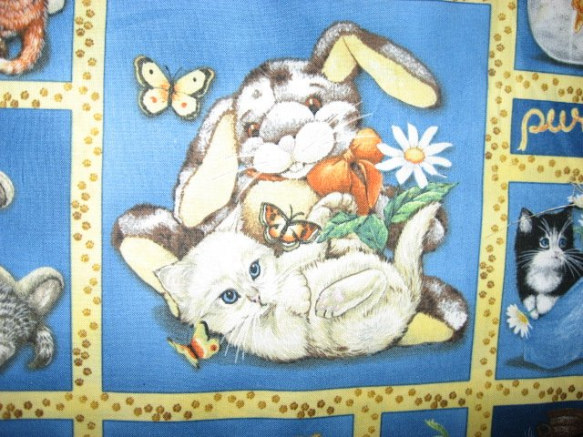 Image 1 of Wilmington Kitty Cats with stuffed animals Cow Bunny fabric by the yard