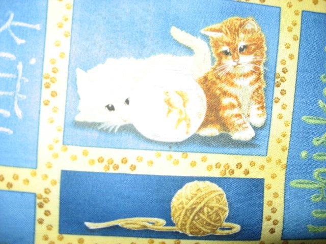 Image 3 of Wilmington Kitty Cats with stuffed animals Cow Bunny fabric by the yard