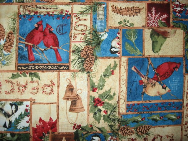 Cardinal bird Believe Love Joy Peace Wilmington fabric by the yard