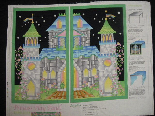 Princess Castle Table Top LAST ONE Avlyn Quality Cotton Fabric Panel Rare
