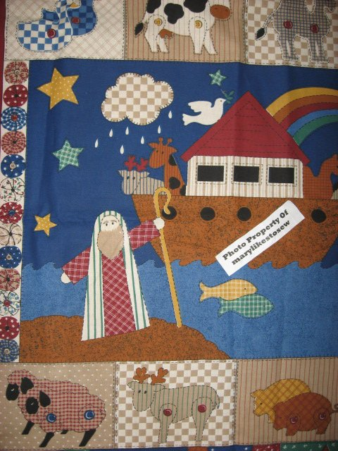 Crib Quilt Fabric Panel Brown Noah S Ark Baby Boy Sewing