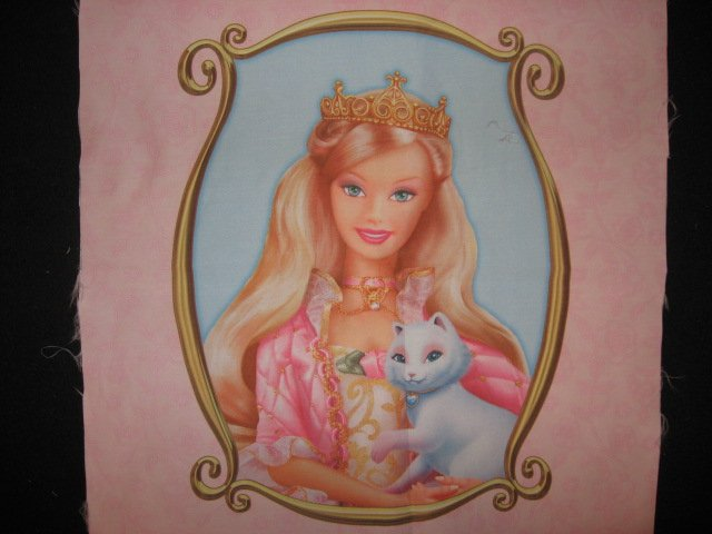 Barbie Blond Princess cat one Silky Fabric pillow panel to sew