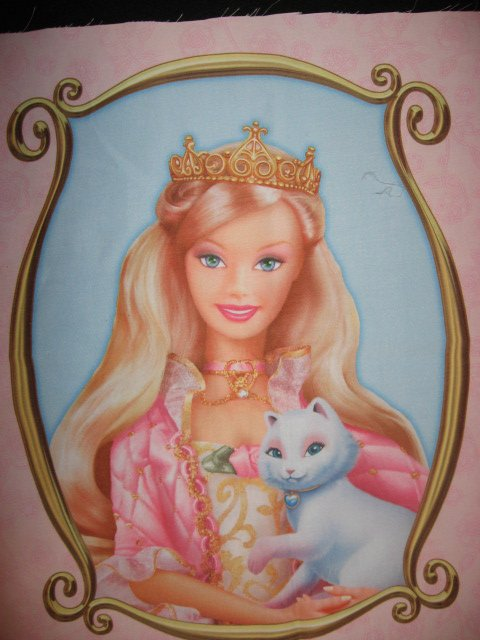 Image 1 of Barbie Blond Princess cat one Silky Fabric pillow panel to sew