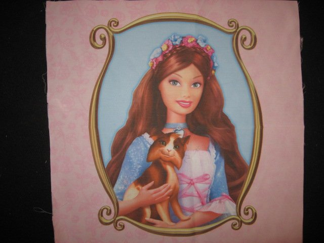 Barbie Brown haired Princess dog one Silky Fabric pillow panel to sew