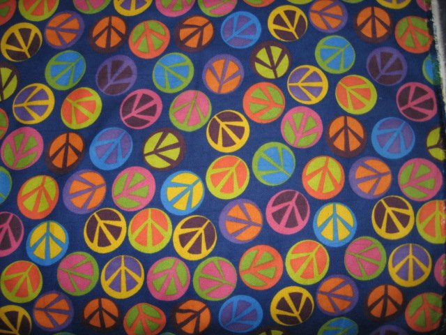 Image 0 of Peace Signs Retro colorful dark blue flannel By the Yard
