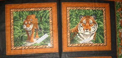 Fabric Pillow Panel set Tigers Mate baby animal butterflies Jungle Scene to sew