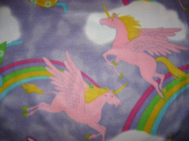 Image 1 of Angels Unicorn fleece blanket  Child bed size Antipill  Lilac /