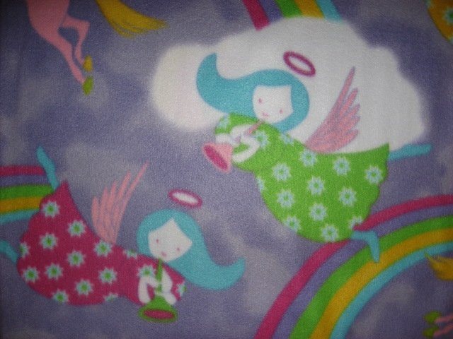 Image 2 of Angels Unicorn fleece blanket  Child bed size Antipill  Lilac /