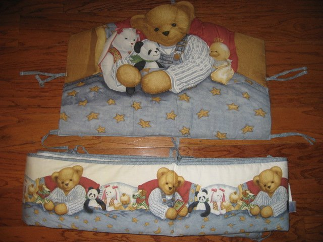 Daisy Kingdom Blue Jean Teddy and his Panda Bear Headboard pad and bumper pad