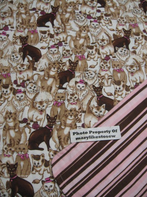 Cats Kitty Double Flannel Baby Blanket Pink and brown stripes