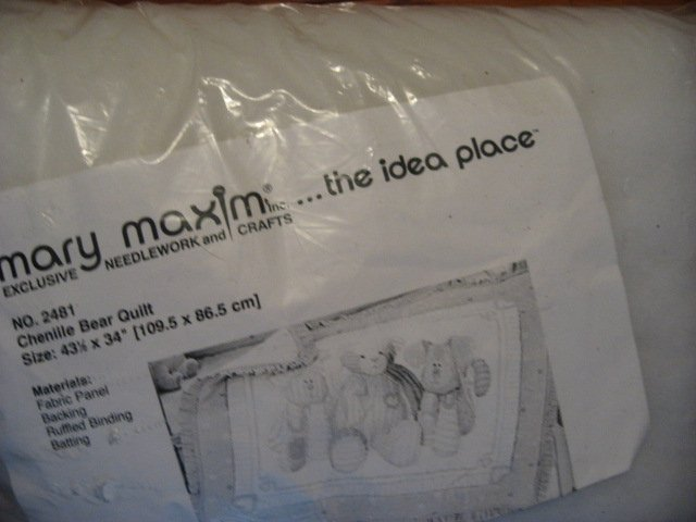 Image 1 of Mary Maxim Chenille look Bear Cotton Fabric Quilt kit with Batting and binding