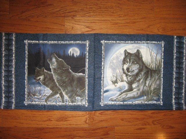 Wolf and the moon Fabric pillow panels set of two different pictures