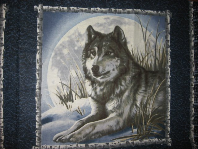 Image 1 of Wolf and the moon Fabric pillow panels set of two different pictures