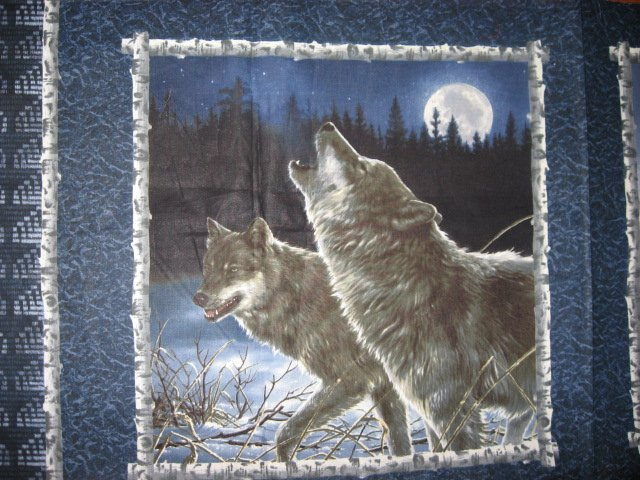 Image 2 of Wolf and the moon Fabric pillow panels set of two different pictures