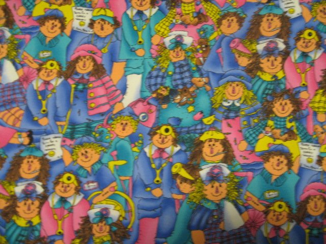 Raggedy Ann Andy Scrub sewing cotton Fabric 1 yard and 25 long by 60 wide