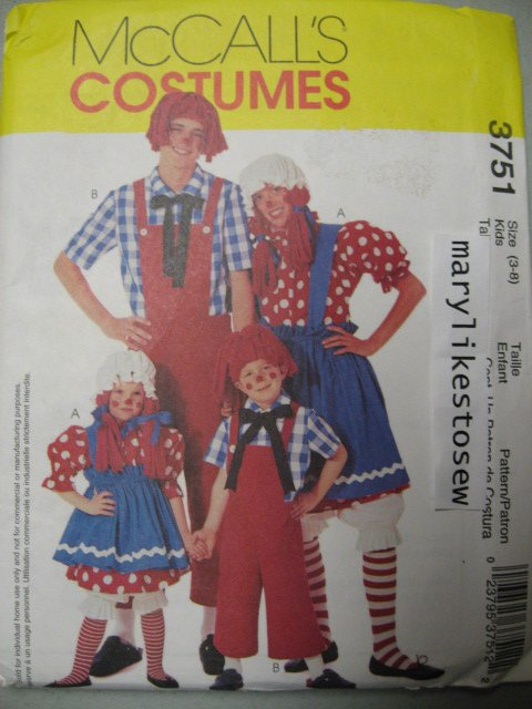 McCall's 3751 sewiing Pattern Costume Rag Doll Child sz 3 to 8 rare