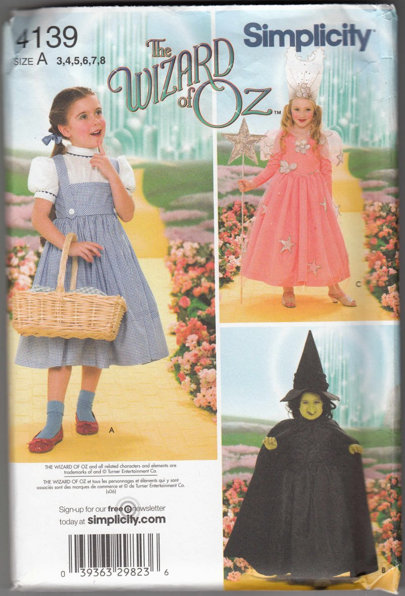 Simplicity sewing Pattern 4139 Wizard of OZ Dorothy Witch Princess Child SZ 3-8