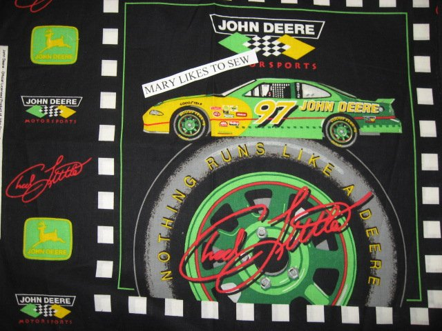 John Deere Chuck Little #97 Nascar Two Fabric pillow panels to sew