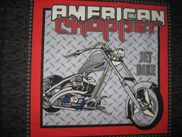 Image 0 of American Chopper Jet bike Motorcycle two Licensed Fabric pillow panels to sew