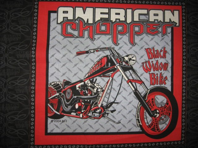 American Chopper Black Widow Motorcycle two Licensed Fabric pillow panels to sew