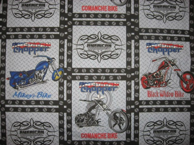 American Chopper Motorcycle Licensed cotton fabric 18X18 squares