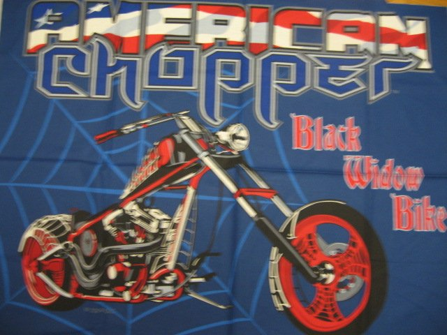 American Chopper Black Widow Motorcycle Licensed Fabric wall panel to sew