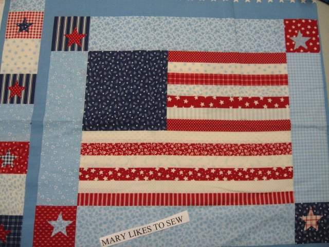 United States Americana Flag Fabric pillow panel set of two to sew