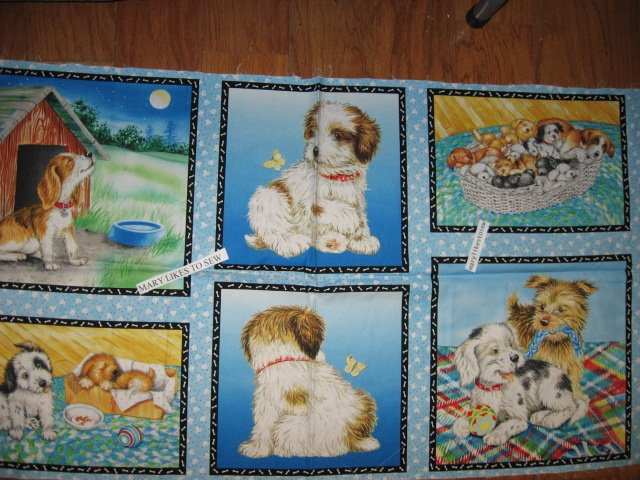 Puppy dogs One blue Fabric pillow panel set of 6 to sew/