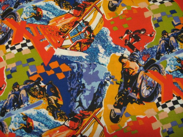 Sports collage motorcycles skateboards sailing and surfing Fabric by the yard