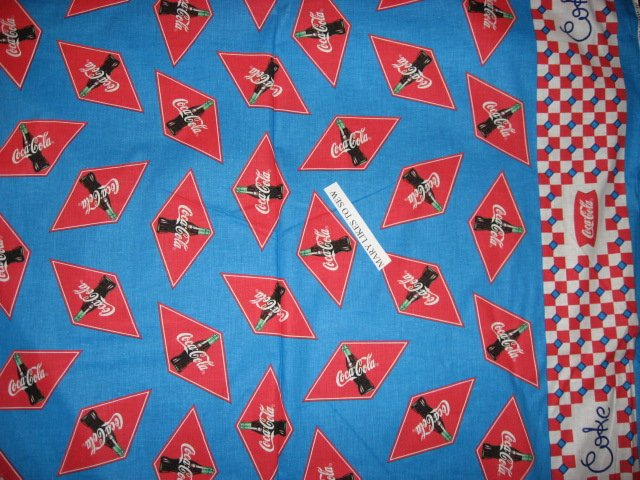 Coca Cola Fabric By The Yard http://www.fleeceandfabric.com/store.php/pd4330467/cocacola_coke_bottles_checked_border_soft_cotton_fabric_two_yard_piece