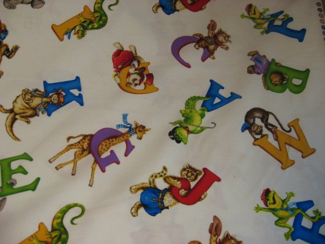 Alphabet Letters Animal Alligator Bear Fuzzy Tails Lisa McCue 100% cotton fabric