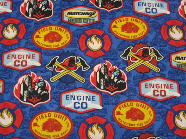 Fireman Rescue Equipment Symbols Match Box Hero City fabric by the yard