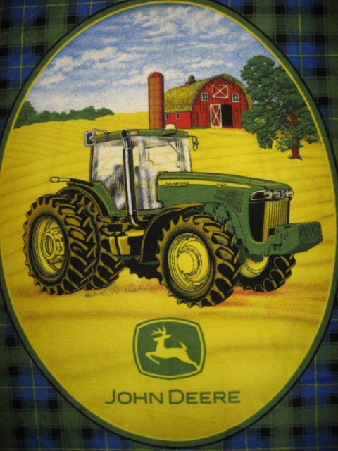 Image 0 of John Deere Tractor plaid Antipill Panel Fin Edge Fleece Blanket Throw for Dad